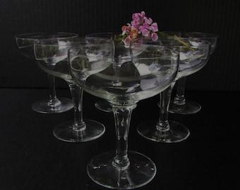 Set of 6 Vintage Mid Century Modern Coupe Champagne Glasses - Coupe Saucer  -Generous Bowl - Hollywood Regency - Elegant Stem -