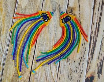 Feather earrings, beaded earrings, gift for her