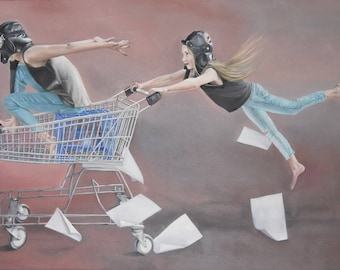 "Print of original painting ""Tearing Up The Sunset Strip"", girls in shopping trolley and aviation gear."