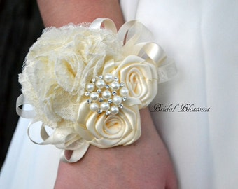 Ivory Satin Lace Ribbon Flower Wrist Corsage | Vintage Inspired Wedding | Mother of the Bride | Bridal Party Baby Shower Prom | Pearl