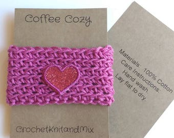Pink Cup Cozy Cup Sleeve with heart applique, Crochet Coffee Sleeve, Reusable Coffee Cozy, Eco friendly cup cozy