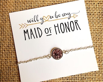 Bridesmaid Proposal Gift - Will You Be My Maid of Honor Bracelet