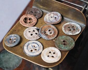 Set of 10 Antique original different buttons (n21)