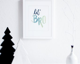 Little Brother Art Printable, Lil Bro, Navy Little Boys Room Decor, Watercolor Nursery Art, Scandinavian Nursery Wall Art, Modern Kids Art