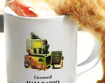 Licensed Ham Radio Operator Mug - For Amateurs Who Love Morse Code and Shortwave Radio | Signaler Technician Friends, Find Your Frequency!