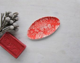 Ceramic soap dish, decorated pottery soap holder, botanical soap dish, soap