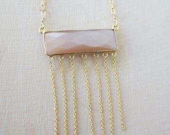 Orange moonstone necklace, Moonstone gold necklace, Moonstone chain necklace. orange moonstone pendant necklace