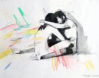 Embracing lovers, collaboration with 3yr old daughter! sketch with crayons and felt-tips