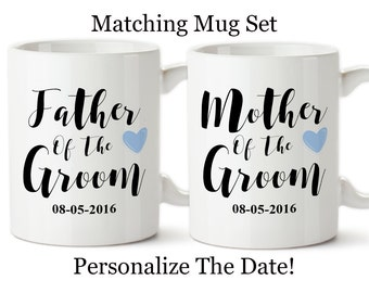 Matching Mug Sets, Mother Of The Groom, Father Of The Groom, Parents Of The Groom, Grooms Parents Gift, Wedding Mug Sets,Wedding Reveal Mugs