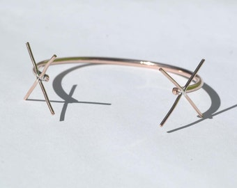 Cuff Bracelet Copper Solid with 4 Prongs -Two Claws for Jewelry Making Supplies