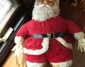 Vintage Rushton Large Rubber Face Plushed Stuffed Christmas Santa Doll