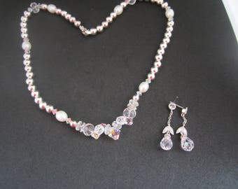 Stunning Sterling Silver, Cut Crystal, Freshwater Pearl Necklace and Earrings-FREE SHIPPING (US)