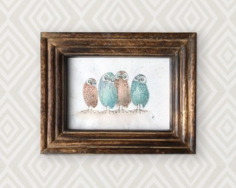 Original watercolour of an owl family of 4, La Famiglia. This is an original, NOT A PRINT. Perfect for a baby or child's room!