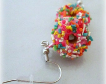 Pink Frosted Donut Earrings