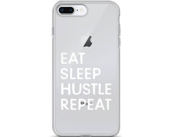 Clear iPhone 8 plus case, Eat sleep hustle repeat, iPhone 6s case, iPhone 7 case, Case for iPhone, iPhone x case clear, iPhone 7 plus