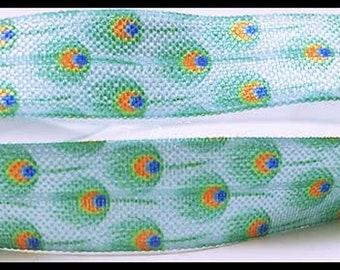 "Blue Turquoise Peacock Feather Design Green Print FOE Ribbon  5/8"" Hair Bow AZ395"