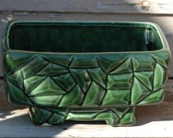 Vintage deep forest jade green heavy ceramic cactus succulent herb flower pot planter windowsill 1970s retro hippie decor geometric pattern