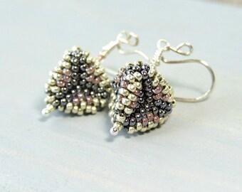 Triangle Earrings, Small Drop Earrings, Seed Bead Earrings, 3D Earrings Sterling Silver, Bead Work, Glass Earrings, Unique Gifts For Women