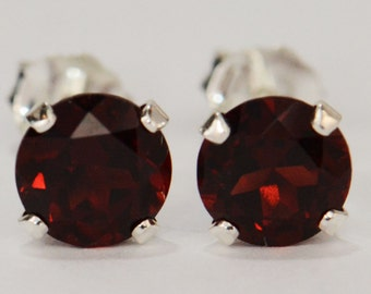 Red Garnet Earrings~.925 Sterling Silver Setting~6mm Round Cut~Genuine Natural Mined