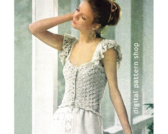 Crochet Camisole Pattern 1970s Vintage Ribbon & Ruffle Camisole Top Crochet Pattern PDF Instant Download Size 6 to 14 - C23