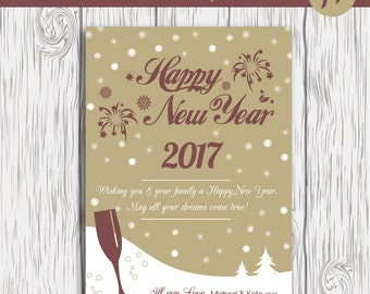 Happy New Year Card Template, New Years Card Template, Photoshop Template, Printable New Year Cards, New Year Digital Card, Photography,Gold