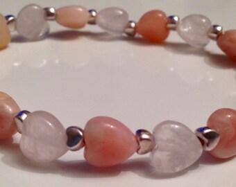 Rose Quartz, Peruvian Opal & silver hearts stretch bracelet