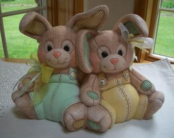 Ceramic Easter bunnies,stuffed look