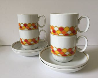Vintage Georges Briard Carousel Cups / Saucers Set..Retro Modern Design Coffee / Tea Cups with Saucers...Mid Century Modern Servingware..