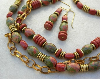AUTUMN Haze, 3-Piece Set, Jasper & Unakite Beads, Brass Disks, Gold Chain, 3-Strand Necklace, Bracelet and Earrings Set, by SandraDesigns