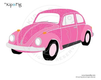 Volkswagon Beetle Bug car applique PDF template - applique pattern design