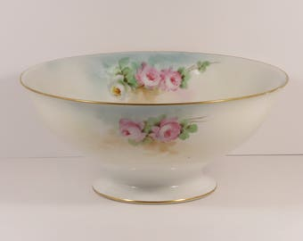 Vintage Richard Ginori Footed Bowl with Hand Painted Pink Roses, and Artist Signed.