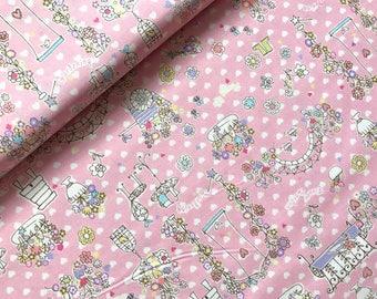 Japanese Fabric Cotton, Yuwa Fabric, Floral Fabric, Flower Fabric, Kawaii Fabric, Pink Fabric, Girly Fabric/Romantic Garden/a yard
