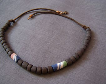 The Choker necklace, leather, sandstone beads and beads from Ghana