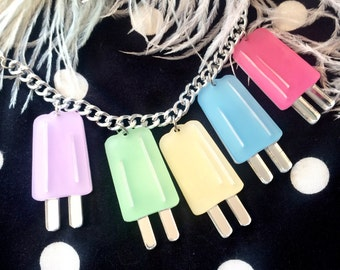 Pastel Ice Pop Popsicle Charm Necklace, Laser Cut Acrylic, Plastic Jewelry