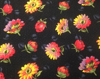 Floral Print Fabric / Cotton Fabric / Yellow Black Fabric - 1 Yard - Black Gold Fabric / Floral Fabric / Flowers and Leaves / Daisy Fabric
