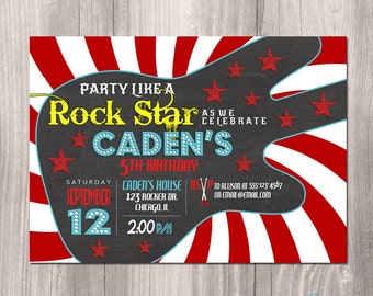 Rock Star Birthday Invitation, Guitar Birthday Invitation, Printable Rock Star Invitation, Rockstar Invitation, Rocker, Rock n Roll