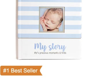 First Year Baby Memory Book for Boys | Life's Precious Moments & Firsts | First Five Years Baby Journal | Blue