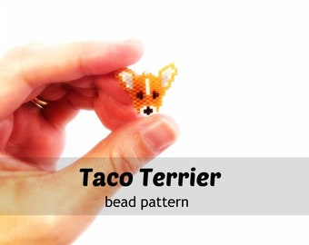 Taco Terrier Bead Pattern, Chihuahua/Toy Fox Terrier Dog, Brick Stitch Beading