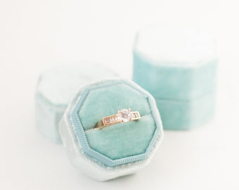 Ring Box - Velvet Ring Box - Vintage - Proposal Ring Box - Engagement ring box - Wedding - Personalized Gift - Octagon - Nile Blue