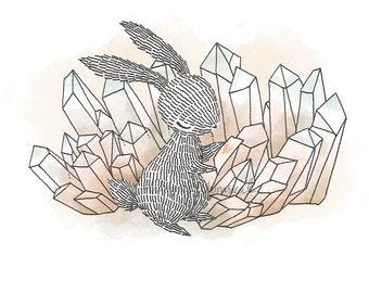 Crystal Quartz II, Rabbit - 5x5 Print