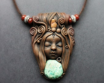 Goddess Necklace with Turquoise and Copper. Handcrafted Clay & Gemstone Pendant.