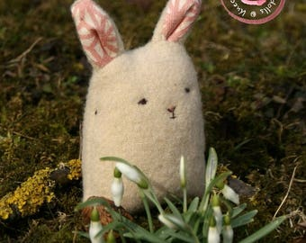 Handmade Easter Bunny - Stuffed Bunny - Wool Felt Animal - Teddy Bear Toy - Miniature Rabbit - Woodland Friend