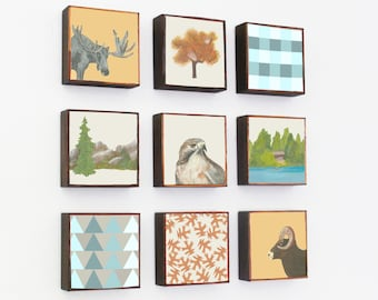 forest animals, woodland nursery decor, forest nursery decor,  5x5- gender neutral baby,  woodland decor for nursery- forest decor, tree art