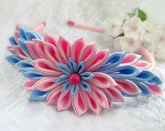 Blue pink headband Birthday gift for baby girl Headband Kanzashi Little girl gifts Toddler gift Hair bow headband Baby pink flower accessory