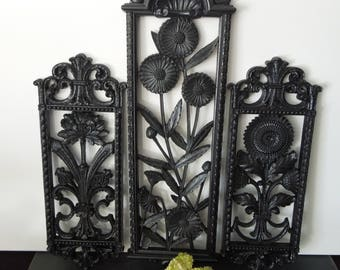 Black Plastic Wall Plaques - Vintage Mid Century Wall Art - Floral Flower Design Panels - Retro Wall Decor