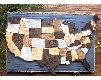 Wooden Stained USA Map.