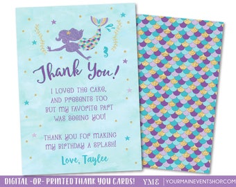 Mermaid Thank You Cards • Mermaid Birthday Party  • Teal Purple Gold