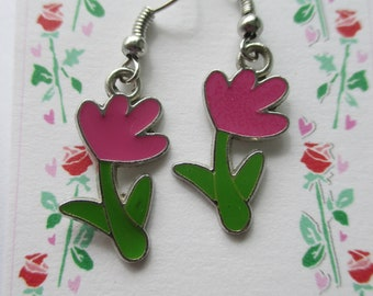 Spring Tulip Flower Cute Dangle Earrings, Garden flower earrings, Tulips, Welcome Spring earrings, nature
