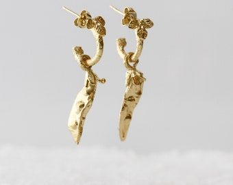 Gold Filled Earrings, Long Earrings, Nature Earrings, Organic Earrings, Woodland Earrings, Botanical Earrings, Dainty Earrings, Pea Earrings