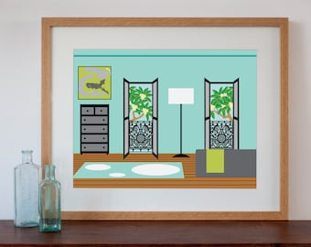 Terraced House Bedroom Interior - Digital Art Print